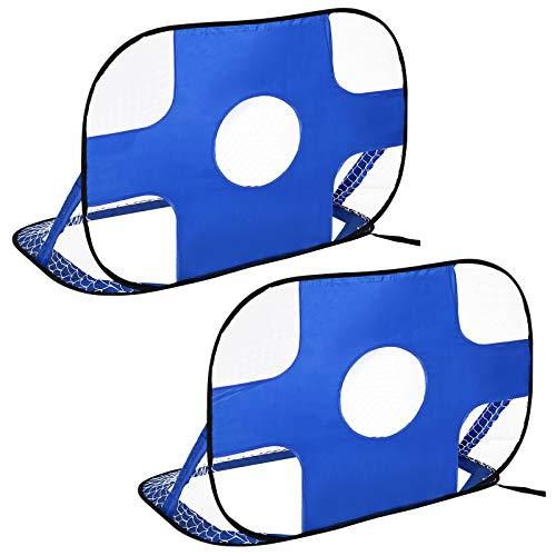 HOMCOM Fußballtore, Pop Up Tor, Tragbares Fußballnetz, 2er Set Minitore, mobil mit Tragetasche, Faltbar, Blau, 123 x 80 x 80 cm
