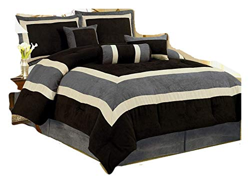 High Quality Micro Suede Queen Comforter Set Bedding-in-a-ba...