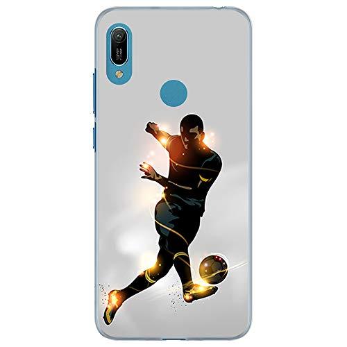 BJJ SHOP Custodia Trasparente per [ Huawei Y6s / Huawei Y6 2019 / Huawei Honor 8A ], Cover in Silicone Flessibile TPU, Design: Calciatore Che calcia la Palla, Luce di energia