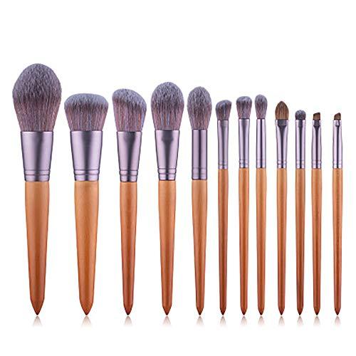 Pinceau de maquillage Set 12 pièces cosmétiques professionnels Brosses Ebony cheval maquillage Brosse à cheveux,Marron