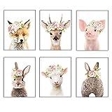 Baby-Tier-Poster und Drucke, Kaninchen, Ferkel, Reh, Fuchs,