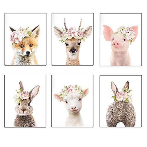 Baby-Tier-Poster und Drucke, Kaninchen, Ferkel, Reh, Fuchs, Leinwandbild, Kinderzimmer, Schwein, Wandkunst, nordisches Bild, Kinderzimmer-Dekoration, YMX013 (30 x 40 cm)