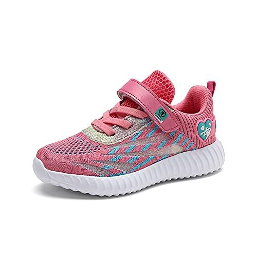 Zapatillas Deportivas Niñas Bambas Ligero Niña Tenis Velcro Nina Zapatos para Correr Niñas 32 EU,Rosa B