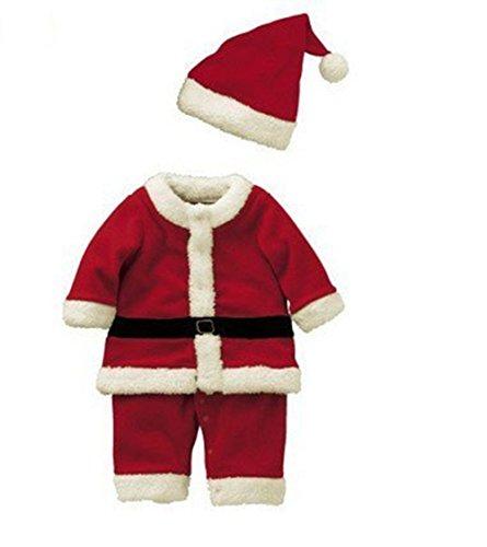 Anik Sunny, costume da Babbo Natale per bambini, con cappello, travestimento ideale per feste e per Natale
