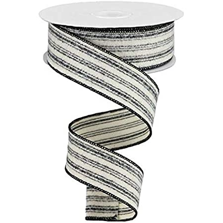 Reliant Ribbon Ticking Linen Stripe Wired Edge Ribbon 2-1//2 Inch X 10 Yards Black