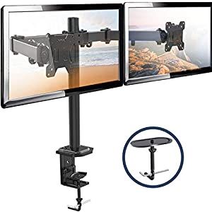 Dual Monitor Stand – Double Monitor Desk Stand Arm with C Clamp, Grommet Mounting Base for Two 13-27 Inch LCD Computer Screens – Holds up to 17.6lbs