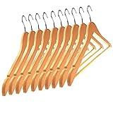 Kleiderbügel Holz 10 Stück natur - Ordnung für Kleiderschrank und Garderobe - Hochwertige und robuste Kleiderbügel aus Naturholz Ahorn