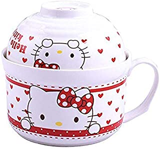 Ceramic Soup Bowls Handle with Lid Bowls set, Lovely Cartoon Noodle Bowls Serving for Cereal Noodle and Snack(KT1)