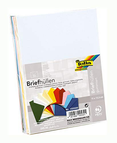 folia 150599 - Briefhüllen, Briefumschläge, Kuverts, gummiert, ca. 11 x 15,5 cm, passend für DIN A6, 50 Stück, sortiert in 10 verschiedenen Farben