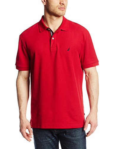 Nautica Men's Short Sleeve Solid Deck Polo, Nautica Red, XXX-Large
