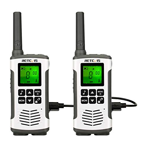 Retevis RT45 Walkie Talkies Rechargeable, Long Range 2 Way Radio for Adults,Portable Two Way Radio,Flashlight AA 22CH VOX, for Camping Hiking Biking Indoor Outdoor (2 Pack)