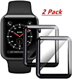 2 Pack - MAXMA Tempered Glass Screen Protector Compatible for Apple Watch Full Coverage Protective Foil 9H 2.5D (40mm) Black 02