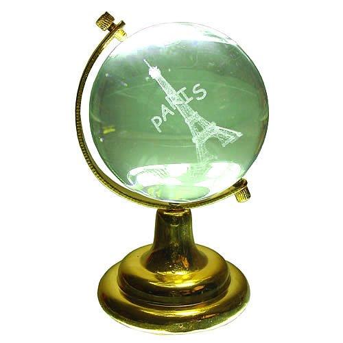 Souvenirs de France - Globe Verre Tour Eiffel - Transparent (8 x 4.6 x 4.6 cm)