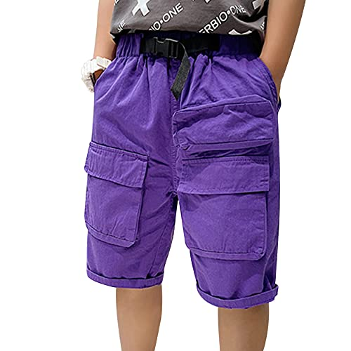 Agoky Pantalones Cortos Niños Chicos Verano Shorts Pantalones Escolar Uniforme Pantalon Algodon Casual Adolescentes Púrpura 3-4 años