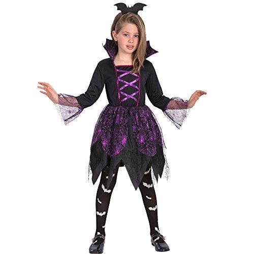 Carnival Toys - kostuum heks met spinnenweven voor meisjes unisex child, meerkleurig, 104-110 cm, 68726