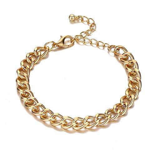 Pulsera de las señoras Pulsera de la cadena de la aleación de la perla de la moda Pulsera de la cadena gruesa para las mujeres del encanto de la perla del corazón de la perla del corazón del brazalete