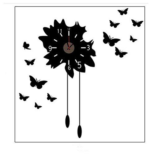 JKCKHA Reloj de pared de silencio personalidad, reloj de pared de la mariposa de la flor grande 3D Rushed espejo etiqueta de la pared de la sala de bricolaje Home Decor Los relojes de manera relojes d