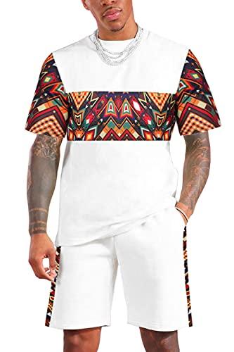 KINGBEGA Men's African Pattern Printed T-Shirt and...