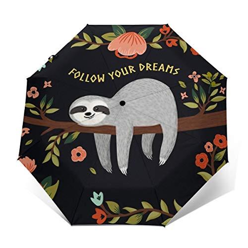 Windproof Umbrella,Travel Auto Open/Close Waterproof Portable Umbrella with Ergonomic Handle 8 fiberglass Ribs-Follow Your Dreams
