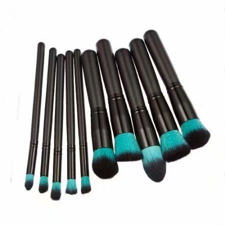 Kit De Pinceau Maquillage Professionnel 10PCS Noir Eyebrow Shadow Blush Fond De Teint Anti-Cerne