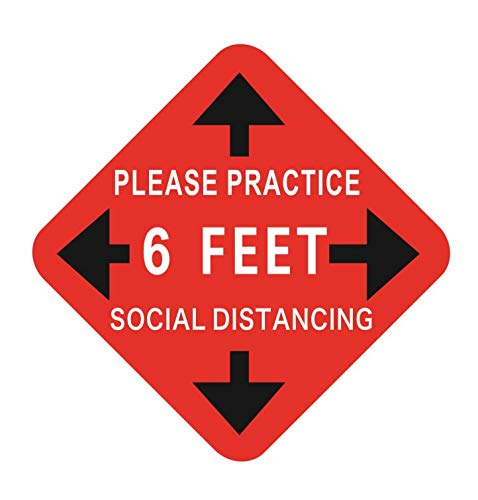 Social Distance Floor Decal Safety Floor Sign Marker Covid 19 Coronavirus Safety Sign 11'' Circle Pressure Sensitive Adhesive Made Floor Sign Pack of 10 (Red White)