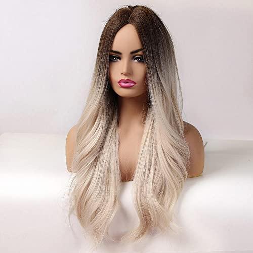 NFRADFM Peluca de pelo sintético rubio platino largo, ondulado, para mujer, peluca natural, resistente al calor, peluca de fibra