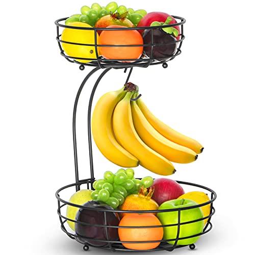 Bextsrack 2-Tier Countertop Fruit Basket Bowl with Banana Hanger for Kitchen, Dining Table, Black