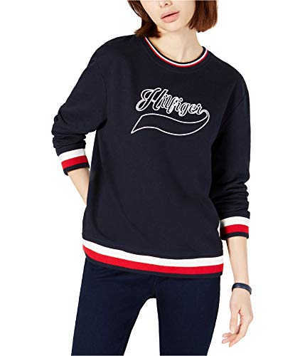 Tommy Hilfiger Womens Vintage Inspired Sweatshirt, Blue, Large