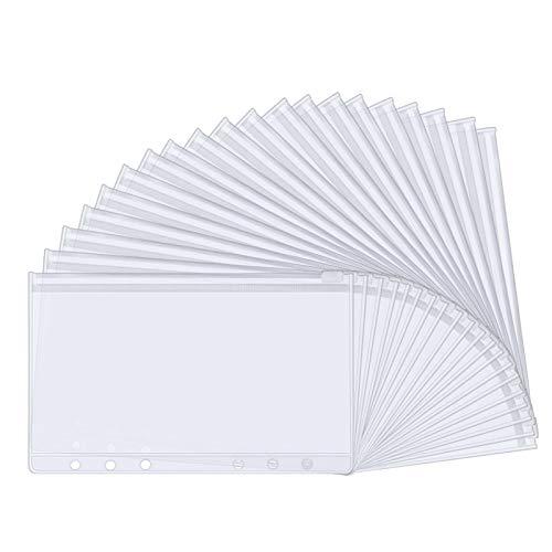Dadabig 25Pcs Bolsillos de Carpeta de Plástico A6 Tamaño Carpeta Portafolios de Plástico Carpetas de PVC con Cremallera Organizar Documentos para Escuela y Oficina (17.5 * 11cm)