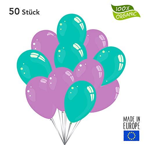 50 Premium Luftballons in Türkis/Lavendel - Made in EU - 100% Naturlatex somit 100% giftfrei und 100% biologisch abbaubar - Geburtstag Hochzeit Silvester Karneval - für Helium geeignet - twist4®