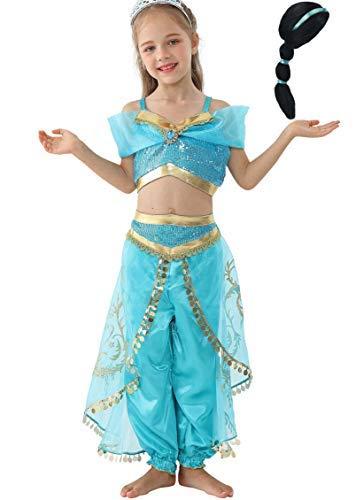 Lito Angels Ragazza Principessa Jasmine Vestire Costume da Danza del Ventre Tenuta con Parrucca per Capelli Taglia 10-11 Anni A