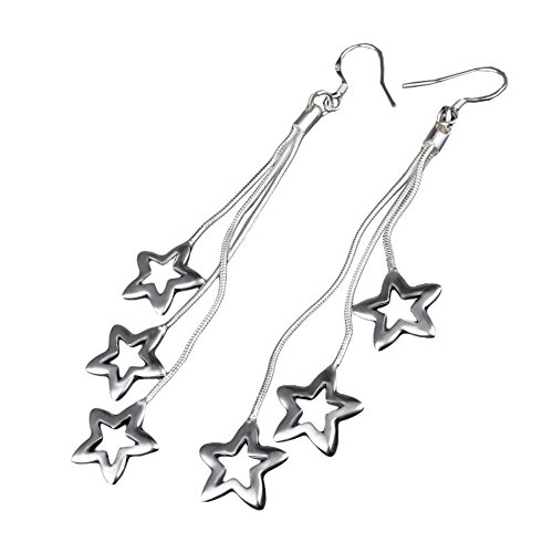 Qingsun Donna Ragazza Argento orecchino piccole stelle 2017di moda regalo (1Coppia)