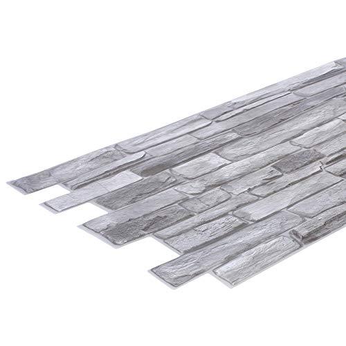 STM Dekor - Panel de PVC plateado Shale, 1 placa, piedra de pizarra, paneles de pared, paneles de techo, papel pintado, decoración de pared, espuma, resistente al agua, lámina de plástico