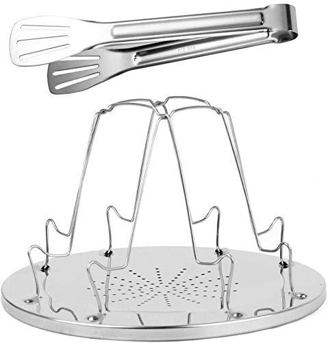Bdwantan 1 paquete de tostadora de acero inoxidable para acampar - Tostadora portátil para estufa de campamento plegable 4 rebanadas - 1 paquete de clip para pan de barbacoa incluido - Parrilla para t