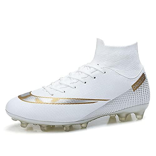Botas de Fútbol para Hombre Zapatos de fútbol con Picos Altos Zapatos de Fútbol para Niños Botas de Fútbol Tacos Zapatos de Entrenamiento Profesional al Aire Libre Zapatillas de Deporte