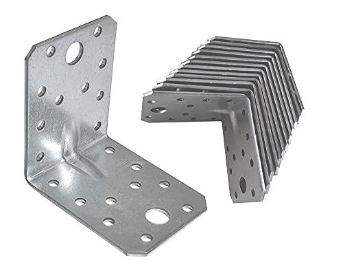 OMIdeas 70 x 70 x 55 x 2.5mm Winkelverbinder mit Sicke Lochwinkel Bauwinkel Holzverbinder Schwerlast Verbinder Winkel Verzinkt / 12 Stück