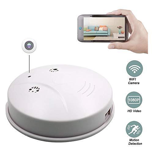 ZWBTY Actualice WiFi Detector De Humo De Cámara Espía Oculta, HD 1080P CAM Detección De Movimiento Mini Grabador De Video Inalámbrico para Seguridad En El Hogar,Blanco