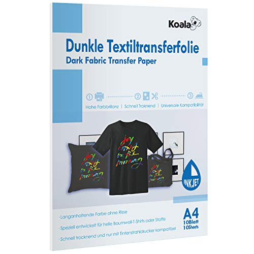 Koala T-shirt Transferpapier Inkjet Dunkle Textilien Transferfolie Bügelfolie Tintenstrahldrucker DIN A4 10 Blatt