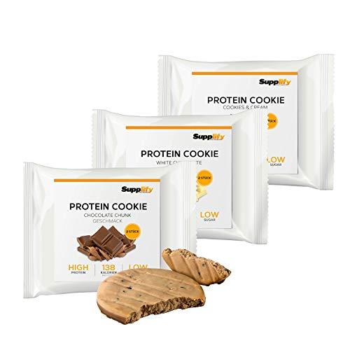 Supplify Protein Cookie (Mix Box) mit bestem Whey Eiweiß und wenig Zucker - die leckere Alternative zu Proteinriegel & Eiweiß-Pulver (6x40g)