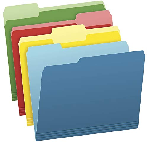 Pendaflex Two-Tone Color File Folders, Letter Size, Assorted Colors (Bright Green, Yellow, Red, Blue), 1/3-Cut Tabs, Assorted, 36 Pack (03086), 4-Color - 1 Pack