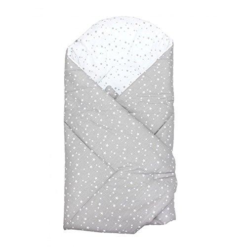 TupTam Baby Unisex Einschlagdecke Wattiert Gemustert, Farbe: Sterne Grau 2, Größe: ca. 75 x 75 cm