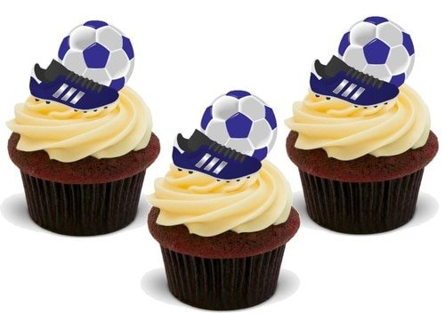 Fußballschuh & Ball BLAU – 12 essbare hochwertige stehende Waffeln Karte Kuchen Toppers Dekorationen, Football Boot & Ball BLUE - 12 Edible Stand Up Premium Wafer Card Cake Toppers Decorations