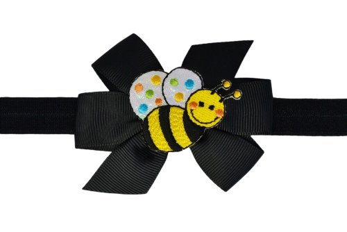 Baby and Toddler Girls Cute Critter Elastic Bow Headband (0-12 Months, Bumblebee)