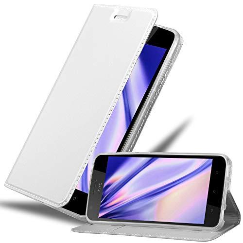 Cadorabo Hülle für HTC Desire 10 Lifestyle/Desire 825 - Hülle in Silber – Handyhülle mit Standfunktion & Kartenfach im Metallic Erscheinungsbild - Hülle Cover Schutzhülle Etui Tasche Book Klapp Style