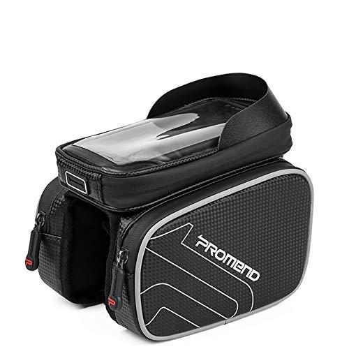YHDQ 6,2-Zoll-Fahrradsatteltasche, wasserdichte Touchscreen-Handytasche, Zubehör für Mountainbike-Fahrten, maschinelles Nähen und wiederholte Bedienung