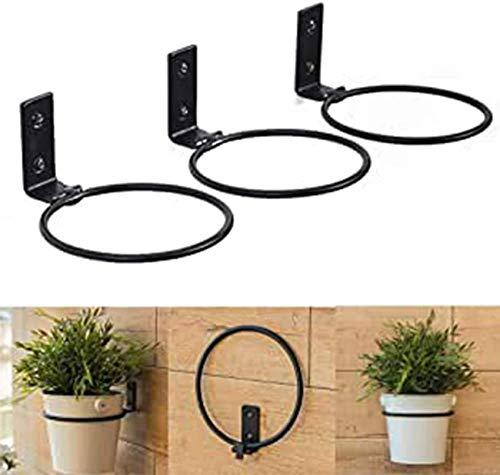 YWYW Planter stands 3 pack wall hanging flower pots ring metal pot holder plant flower holder simple shelf for garden balcony black m