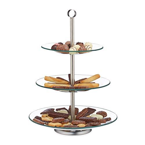 Relaxdays Etagere, 3 Etagen, rund, Cupcake, Keks, Obst, Muffin, Servierständer, Glas, Edelstahl, silber/transparent