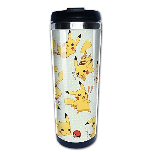 Primeee Tasse isotherme en acier inoxydable avec logo Pokémon Pikachu, thermos à café
