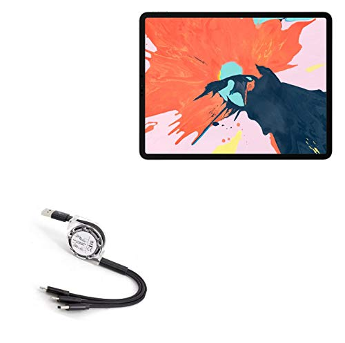 BoxWave Cable for Apple iPad Pro 11' (1st Gen 2018) [AllCharge miniSync] Retractable, Portable USB Cable for Apple iPad Pro 11' (1st Gen 2018) - Jet Black