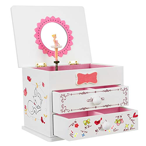SONGMICS Ballerina Music Jewelry Box Wood Storage Case for Little Girls, Cartoon Cat, White UJMC22WT